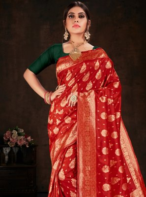 Weaving Red Trendy Saree