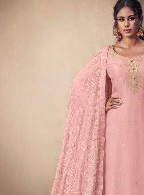 Weaving Rose Pink Banarasi Silk Salwar Suit