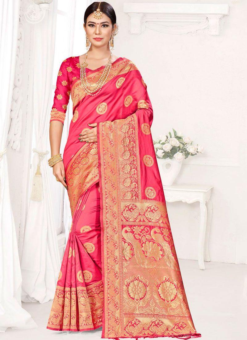 Weaving Rose Pink Designer Traditional Saree