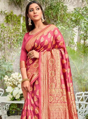Weaving Rose Pink Jacquard Silk Classic Saree