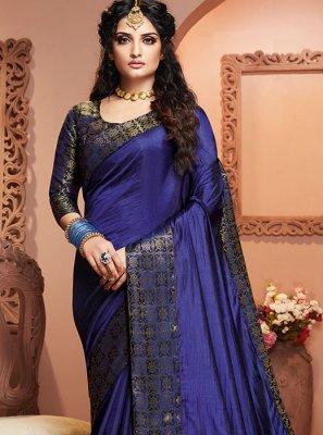 Weaving Satin Silk Designer Saree in Blue