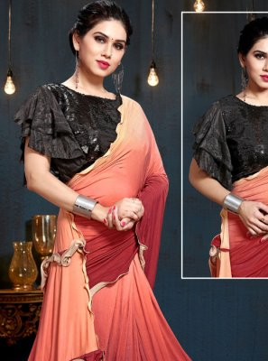 Weaving Satin Silk Multi Colour Trendy Saree