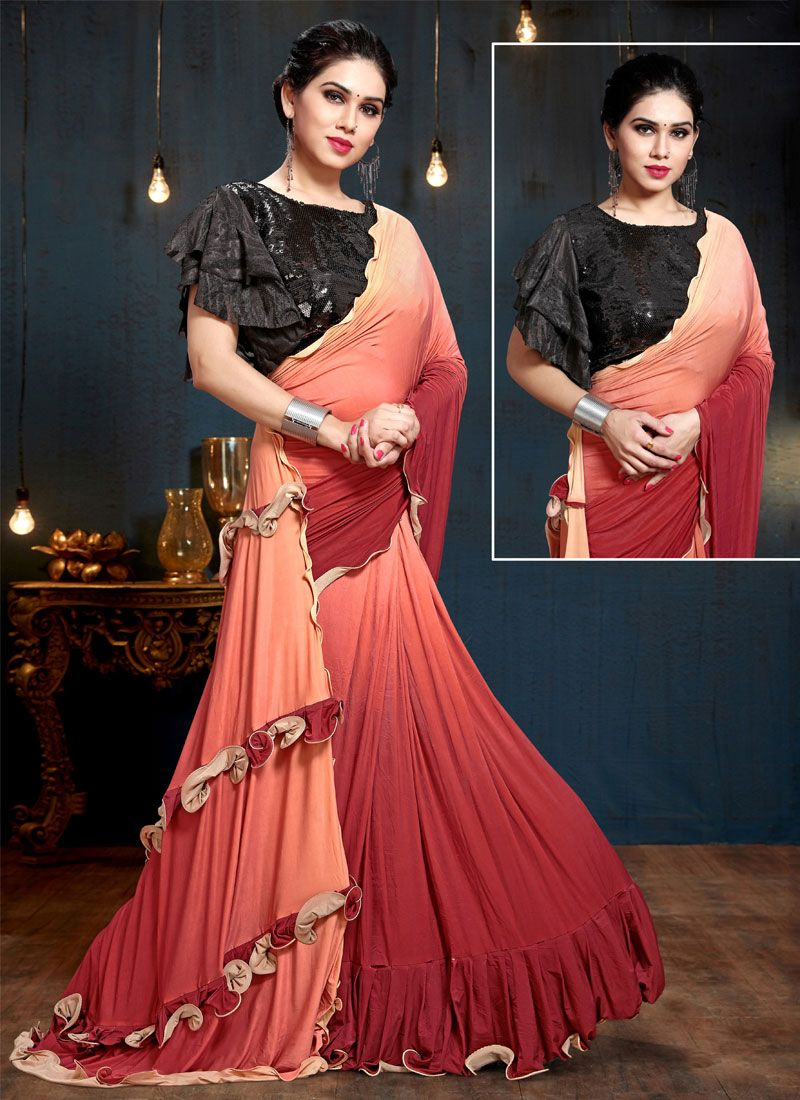 Weaving Satin Silk Multi Colour Trendy Saree