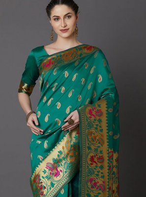 Weaving Sea Green Designer Traditional Saree