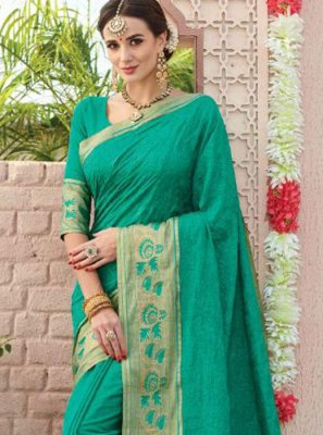 Weaving Sea Green Silk Saree