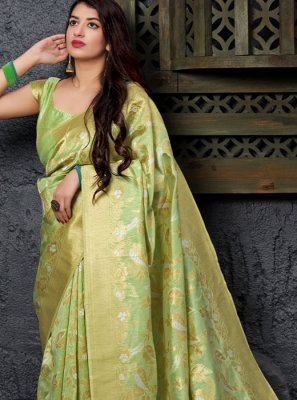Weaving Sea Green Silk Traditional Saree