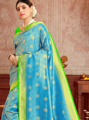 Weaving Silk Aqua Blue and Green Trendy Saree