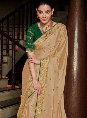 Weaving Silk Beige Trendy Saree