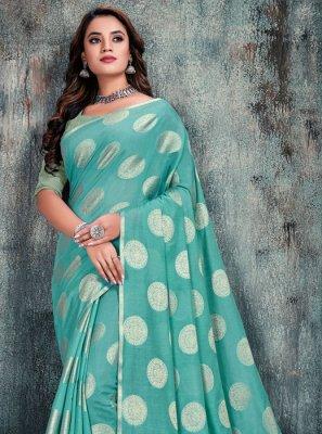 Weaving Silk Blue Casual Saree
