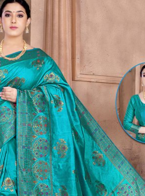 Weaving Silk Blue Classic Saree