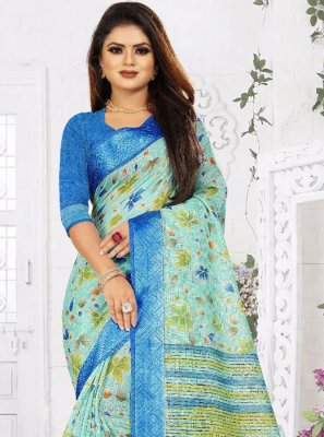 Weaving Silk Blue Saree