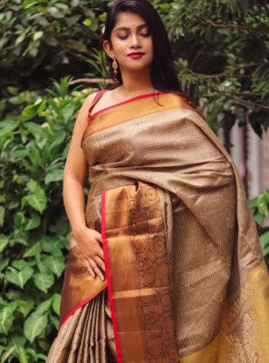 Weaving Silk Brown Classic Designer Saree