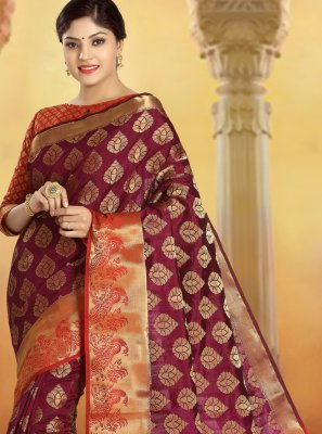 Weaving Silk Classic Saree in Multi Colour