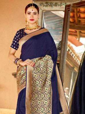 Weaving Silk Classic Saree in Navy Blue
