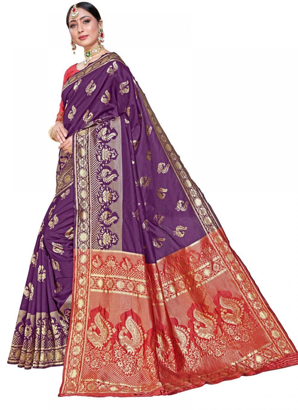 Weaving Silk Classic Saree in Wine