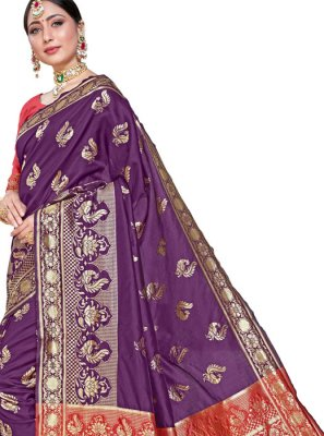 Weaving Silk Classic Saree in Wine