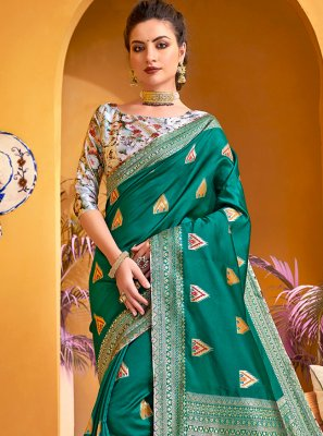 Weaving Silk Contemporary Saree in Teal