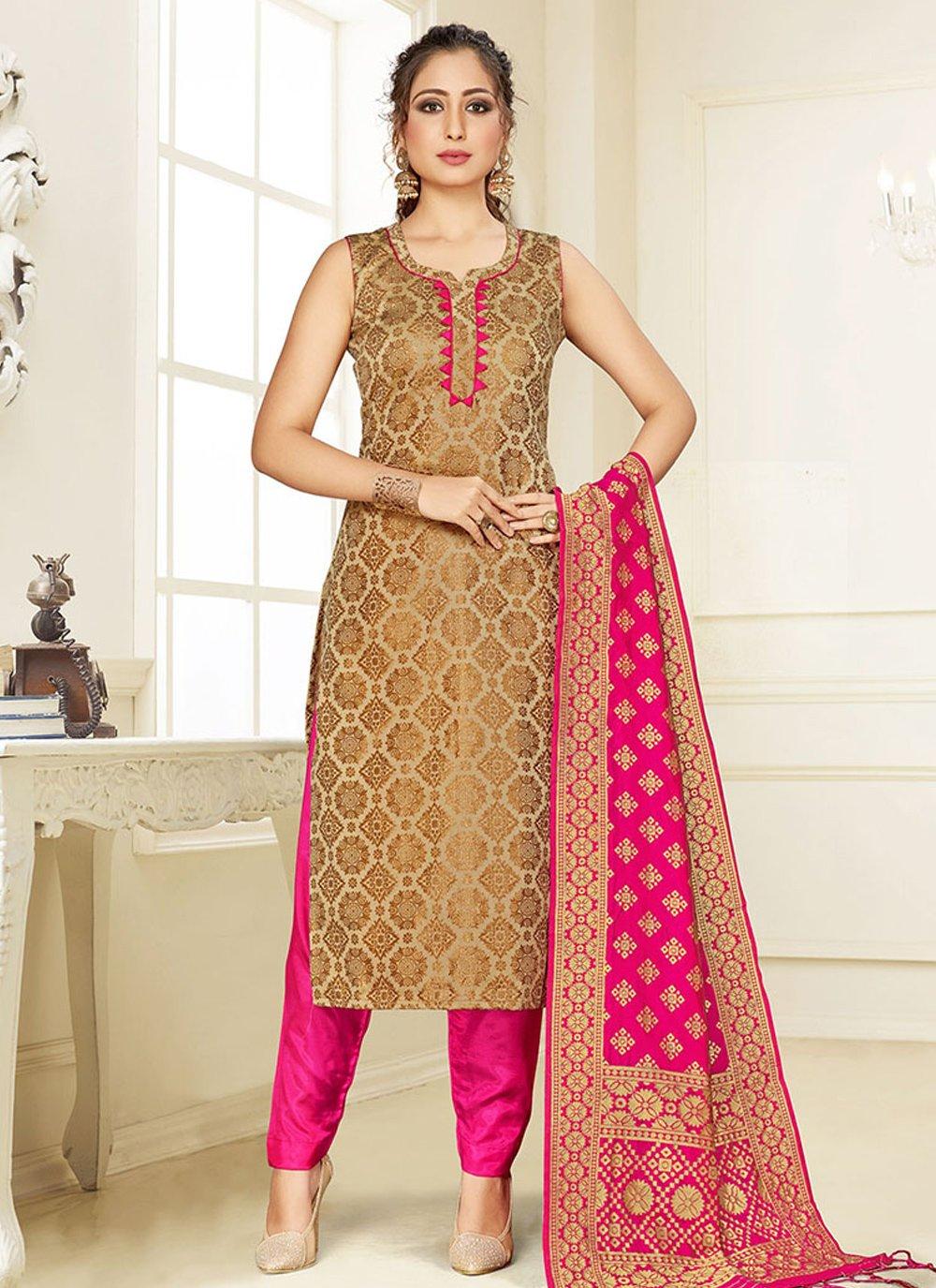 Weaving Silk Cream and Pink Trendy Suit