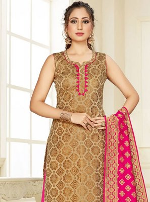 Weaving Silk Cream and Pink Trendy Suit