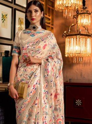 Weaving Silk Cream Designer Saree