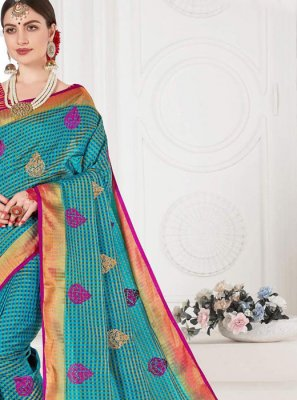 Weaving Silk Designer Saree in Blue