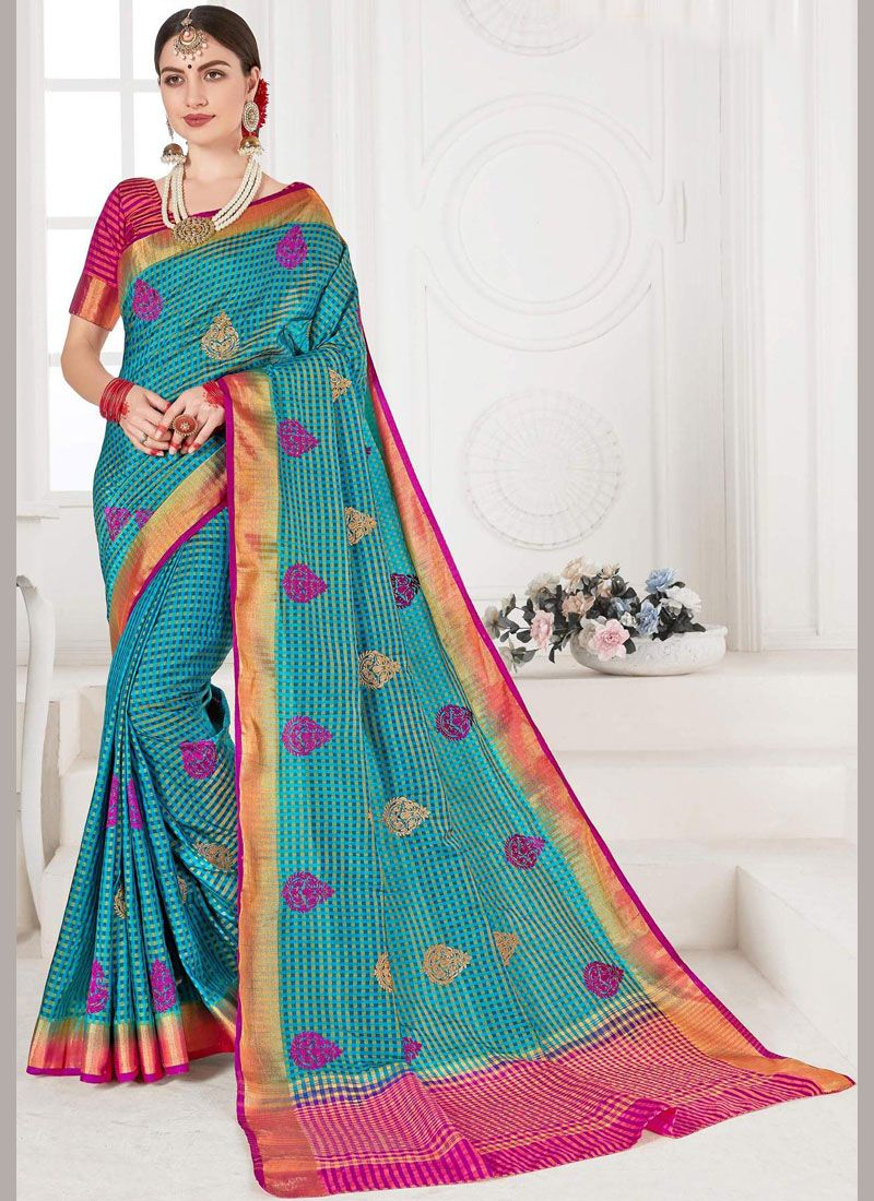 Weaving Silk Designer Saree in Blue