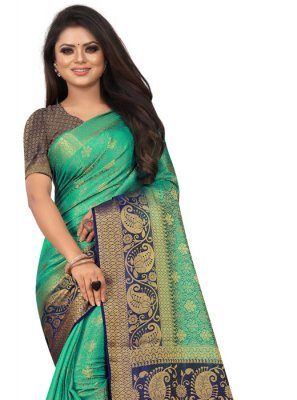 Weaving Silk Designer Saree in Green