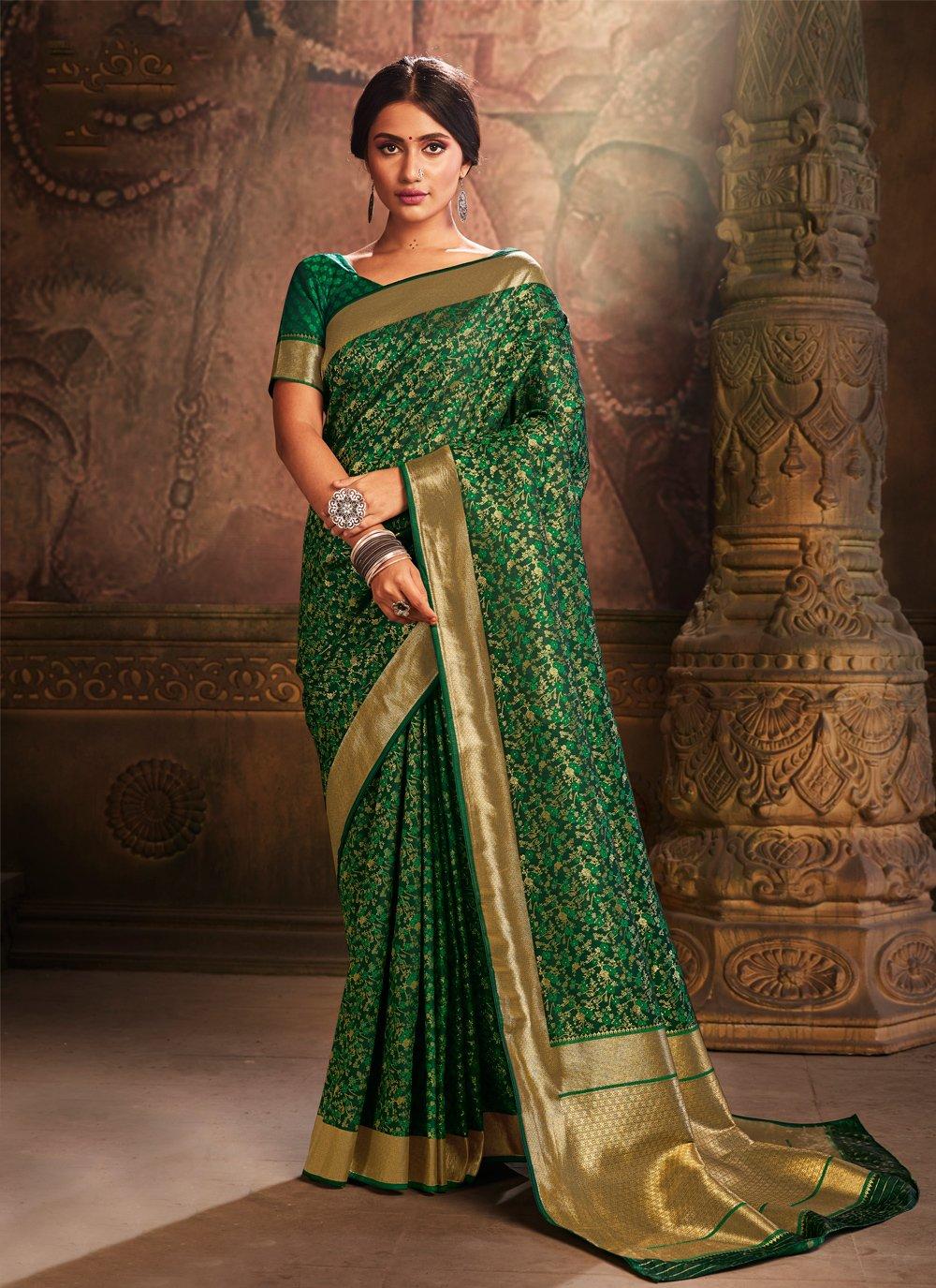Weaving Silk Green Traditional Saree