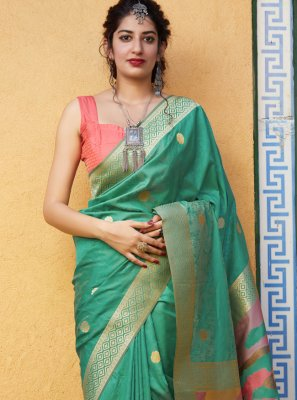 Weaving Silk Green Trendy Saree
