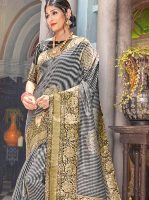 Weaving Silk Grey Classic Saree
