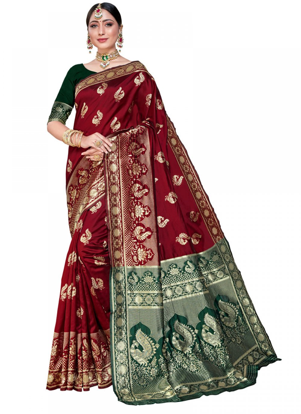 Weaving Silk Maroon Classic Saree