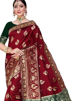Weaving Silk Maroon Classic Saree