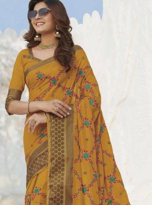 Weaving Silk Mustard Classic Saree