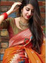 Weaving Silk Orange Silk Saree