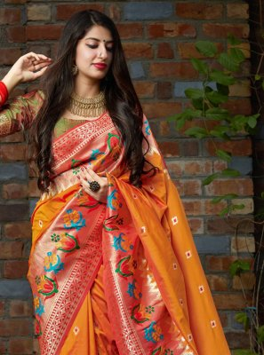 Weaving Silk Orange Silk Saree