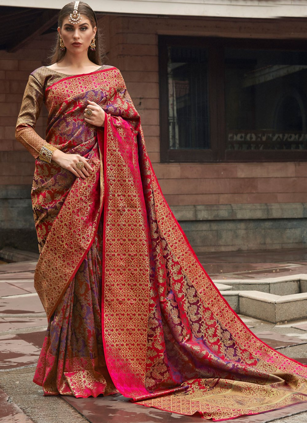 Weaving Silk Pink and Purple Silk Saree