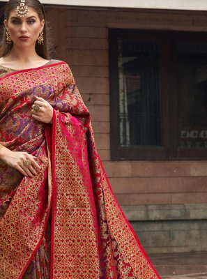 Weaving Silk Pink and Purple Silk Saree