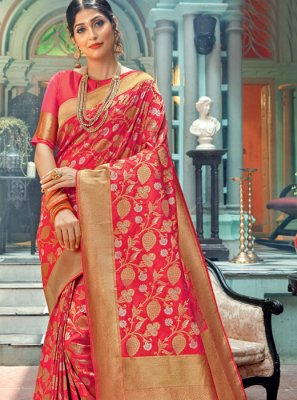 Weaving Silk Pink Classic Designer Saree