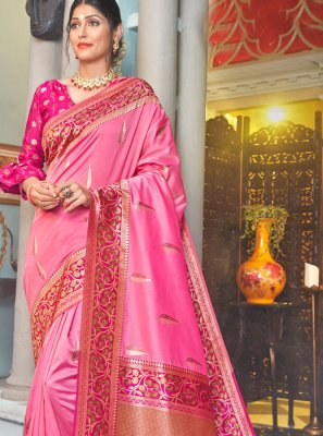 Weaving Silk Pink Designer Saree