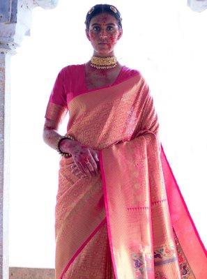 Weaving Silk Pink Designer Saree