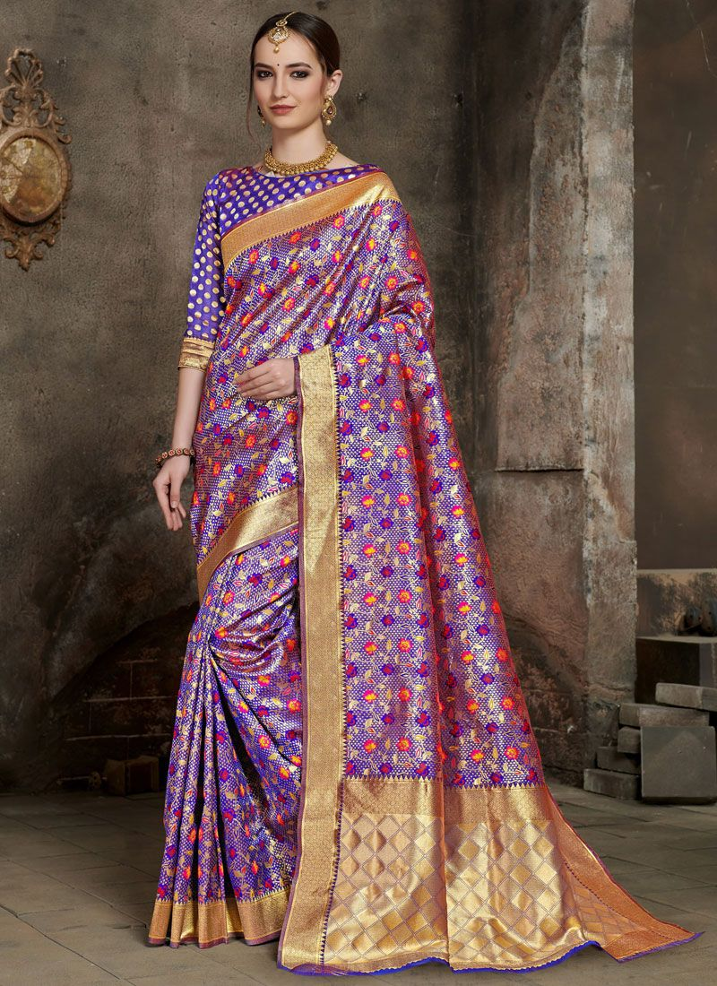 Weaving Silk Purple Silk Saree