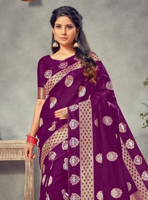 Weaving Silk Purple Traditional Saree