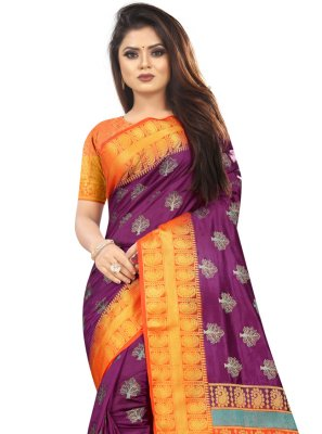 Weaving Silk Purple Trendy Saree