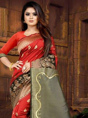 Weaving Silk Red Designer Saree