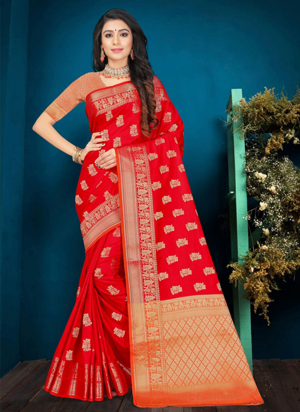 Weaving Silk Red Designer Traditional Saree