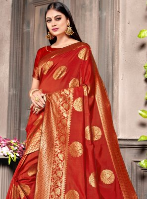Weaving Silk Red Traditional Designer Saree