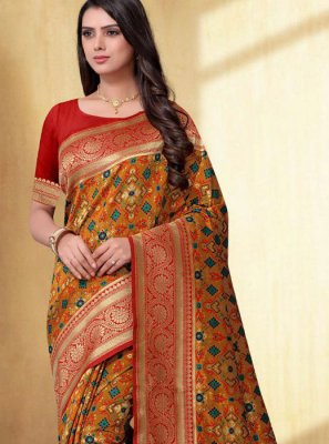 Weaving Silk Silk Saree in Mustard