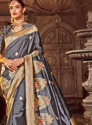 Weaving Silk Trendy Saree in Grey