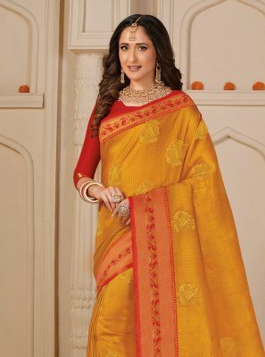 Weaving Silk Trendy Saree in Yellow