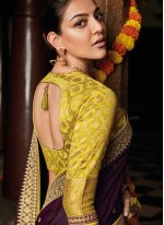 Weaving Silk Wine Bollywood Saree